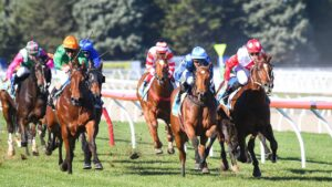 The Silent Sermon (green and orange) running third on debut at Ballarat. Picture: Racing Photos via Getty Images
