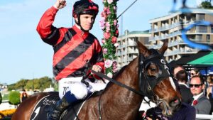 Tim Clark celebrates Converge's win in last week's JJ Atkins. Picture: Trackside Photography