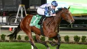 Secret Glamour coasting to victory at Cranbourne under a hold from Jye McNeil. Picture: Racing Photos