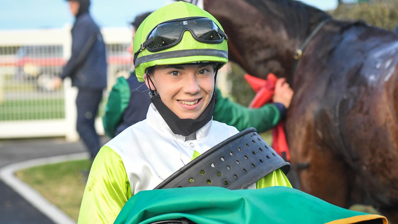 Tianni Chapman after riding Typhoon Harmony to victory at Geelong. Picture: Racing Photos