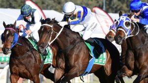 Stephanie Thornton (white cap) rides Happy Go Plucky to victory in the Ipswich Cup. Picture: Trackside Photography