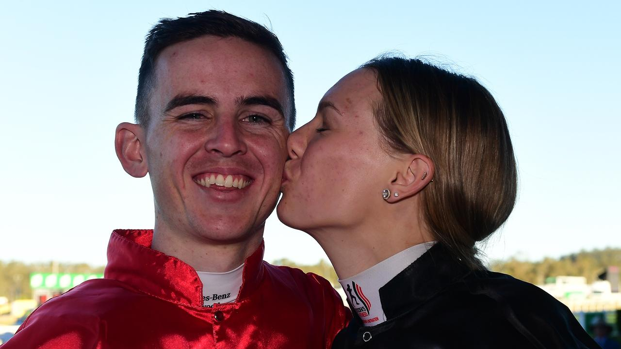 Ben Thompson gets a kiss from partner Stephanie Thornton after winning the Eye Liner Stakes with Snitch. Picture: Trackside Photography