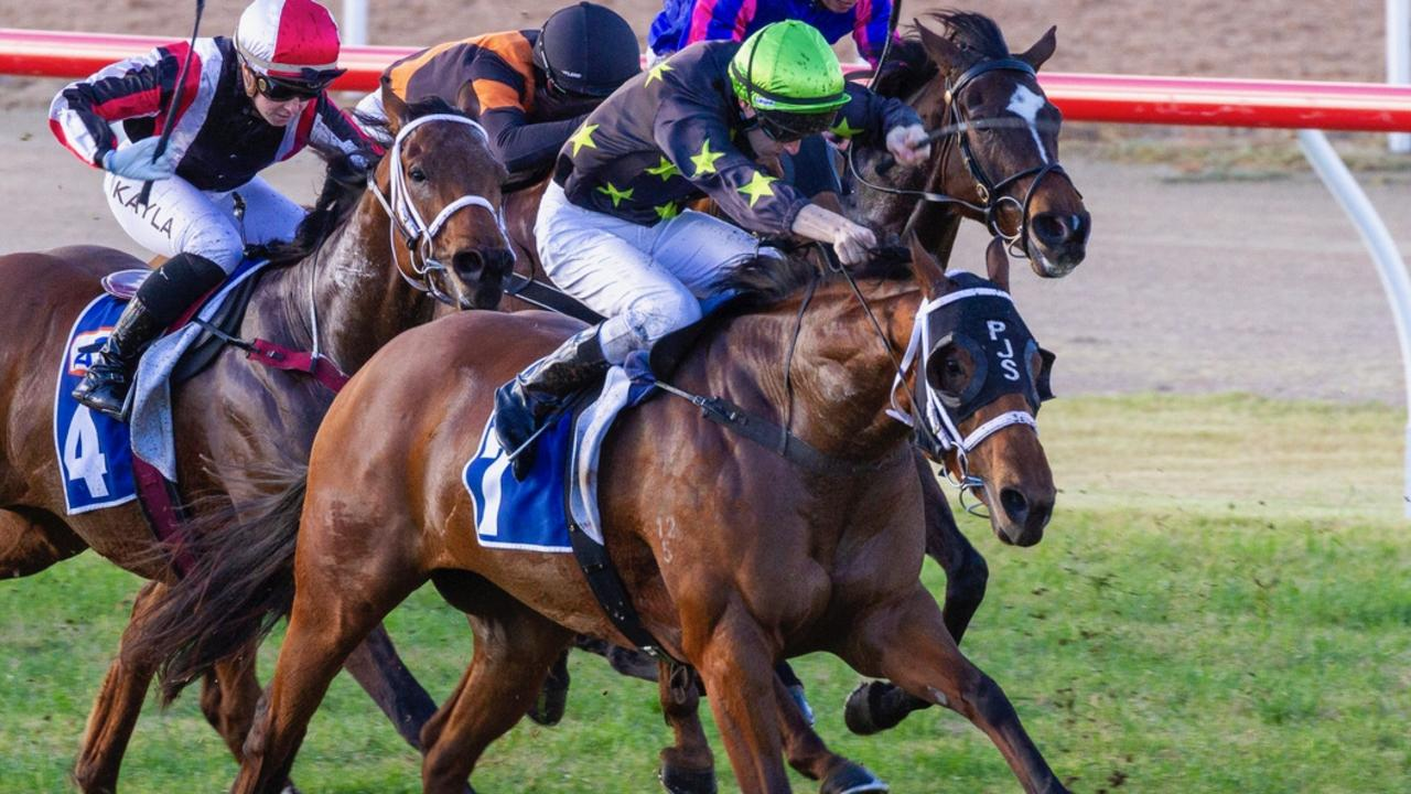 Too Good Too Hard wins at Murray Bridge in her racing farewell. Picture: Atkins Photography