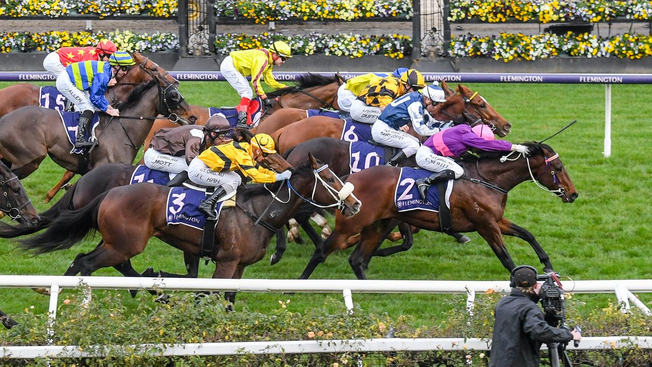 Craig Newitt hits the front with Free To Move in the AR Creswick Stakes. Picture: Racing Photos via Getty Images