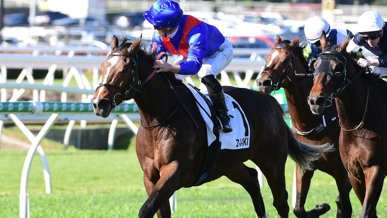 Zaaki, ridden by James McDonald, wins The Q22 at Eagle Farm. Picture: Grant Peters/ Trackside Photography.