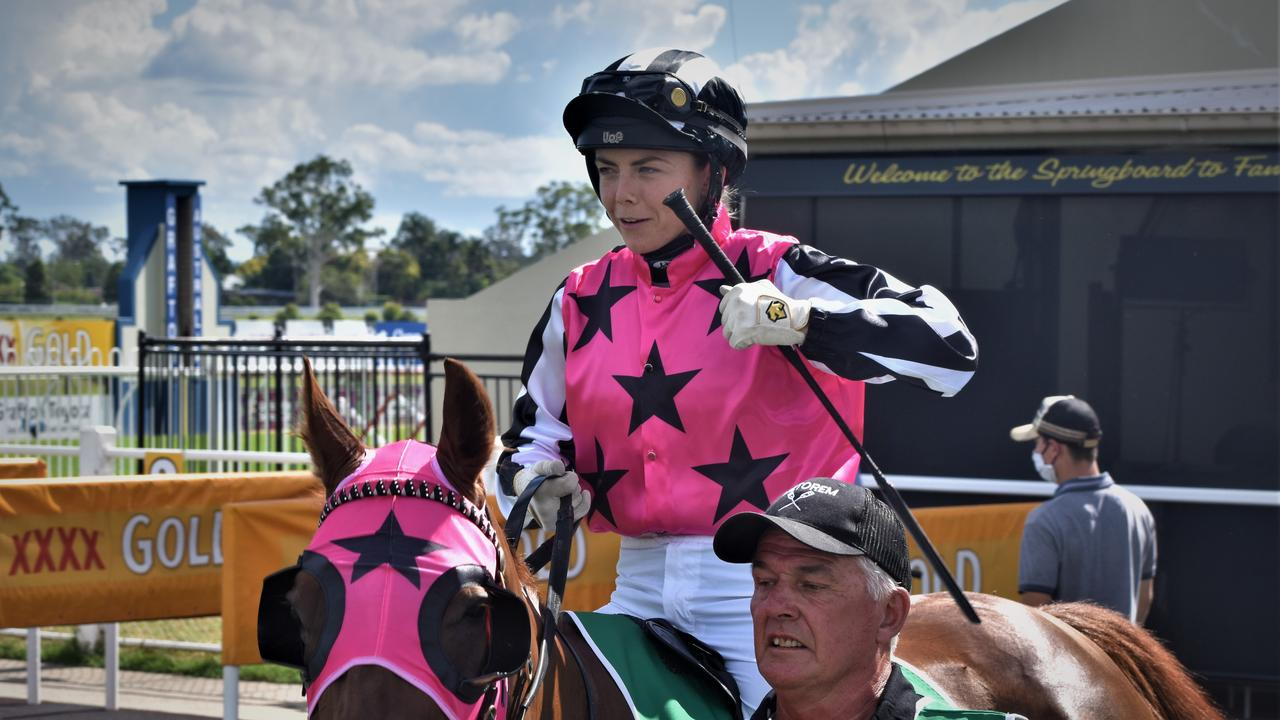 Apprentice jockey Mikayla Weir on Jenny Graham trained Manly Hanover in the mounting yard before finishing second in the New Members Benefits CG&E Class 1 Handicap over 1200m at Clarence River Jockey Club in Grafton on Tuesday, 2nd February, 2021. Photo Bill North / The Daily Examiner