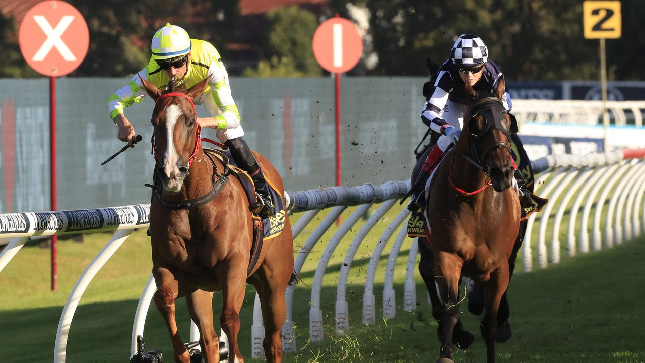 Nash Rawiller cruises home on Eduardo in the Galaxy at Rosehill. Picture: Mark Evans–Getty Images