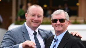 John Hawkes (right) trained former handy gelding Confiscate and now prepares his namesake along with sons Wayne (picturted) and Michael. Photo: AAP Image