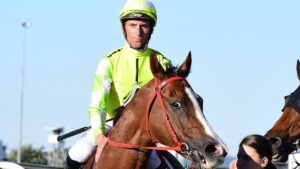 Nash Rawiller, who rode Eduardo to victory in the Doomben 10,000, cannot enter Queensland for the Tatt's Tiara meeting. Picture: Trackside Photography