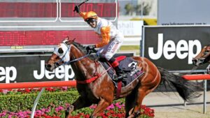 Le Chef winning the Magin Millions in 2015 and Andrew Saunders is hoping for another big win at Eagle Farm. Picture: Luke Marsden