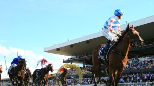 Tommy Berry wins the Golden Slipper on Stay Inside. Picture Mark Evans–Getty Images