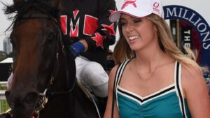 Hannah Matheson with Away Game at the Magic Millions. Picture: Steve Holland