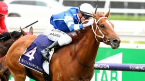 Gytrash, winning the 2020 Lightning Stakes, will have two trainers from August 1. Picture: Getty Images