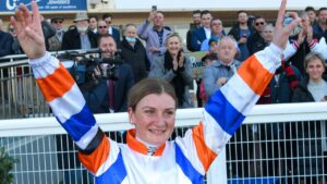 Jamie Kah celebrates after her record-breaking 100th winner of the season. Picture: Getty Images
