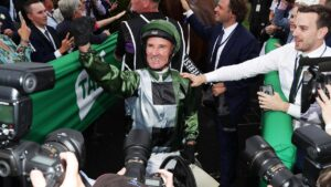 Glen Boss after winning the 2019 The Everest on Yes Yes Yes. Picture: Mark Metcalfe–Getty Images