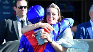 Annabel Neasham hugs James McDonald after Zaaki won the Q22. Picture: Trackside Photography