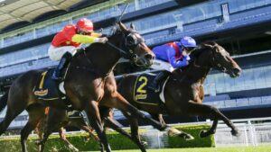 War Eternal (right) finishes over the top of Revivalist at Randwick. Picture: Getty Images