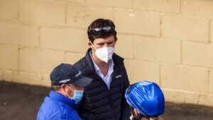 James Cummings looks on as Darren Beadman records jockey Rachel King during the barrier trials at Hawkesbury. Picture: Mark Evans–Getty Images