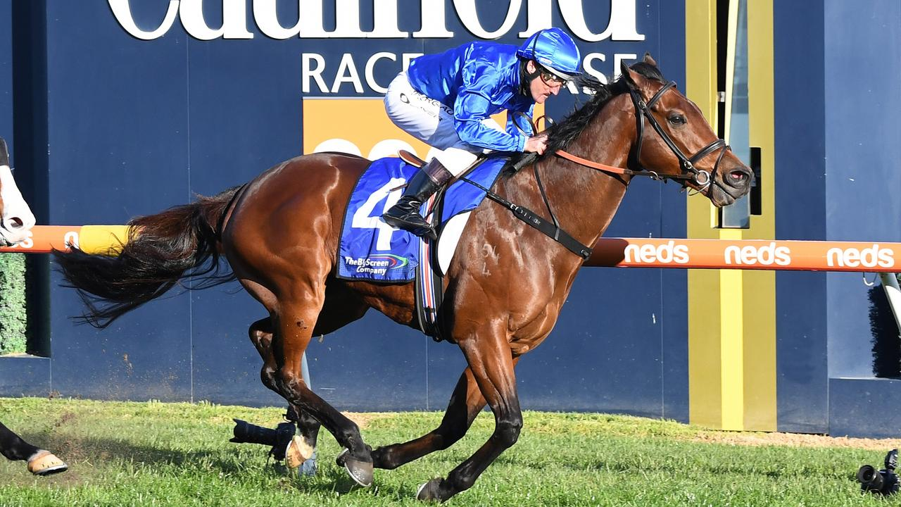 Viridine winning the Bletchingly Stakes at Caulfield last year. Photo: Pat Scala/Getty Images.