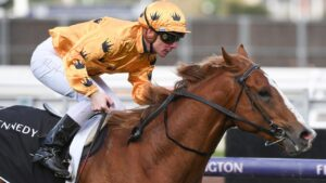 Jockey Ben Melham rated Royalzel a Caulfield Guineas hope after the colt's outstanding win at Flemington earlier this month. Picture : Getty Images.