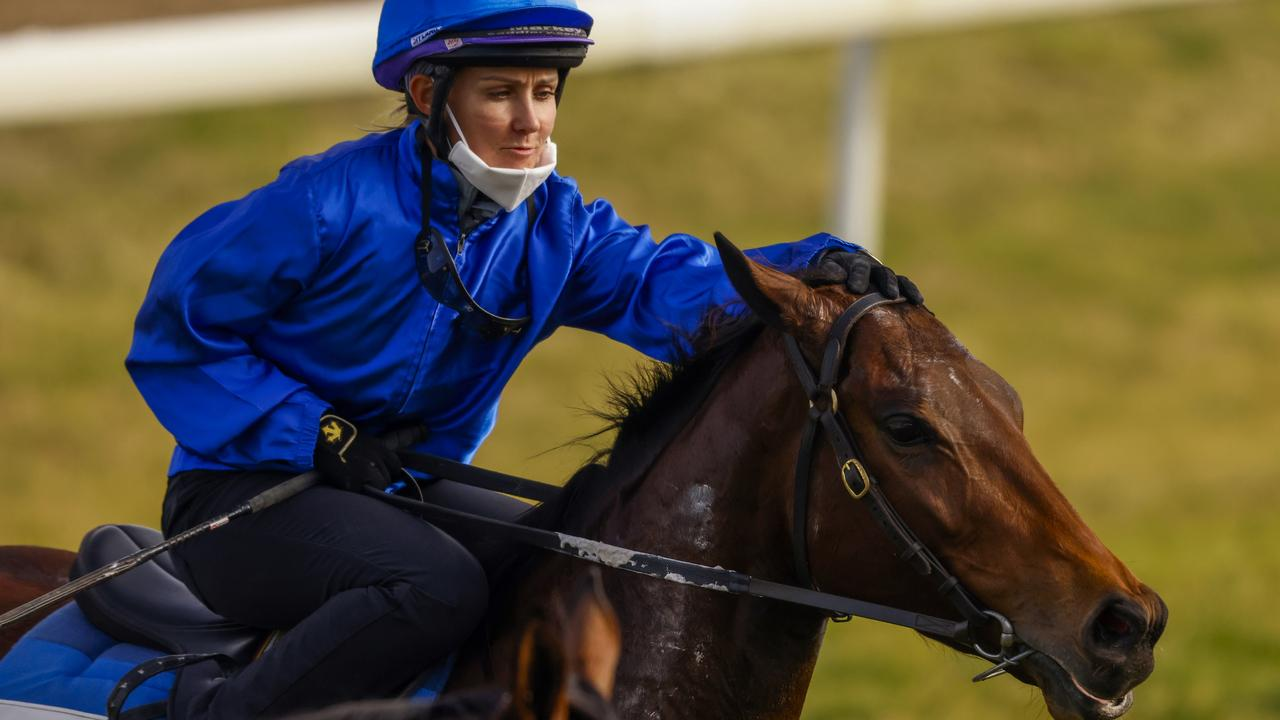 Rachel King gives Colette a pat after her Hawkesbury trial. Photo: Mark Evans–Getty Images