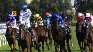 Tommy Berry wins the Golden Slipper on Stay Inside.Picture: Mark Evans–Getty Images