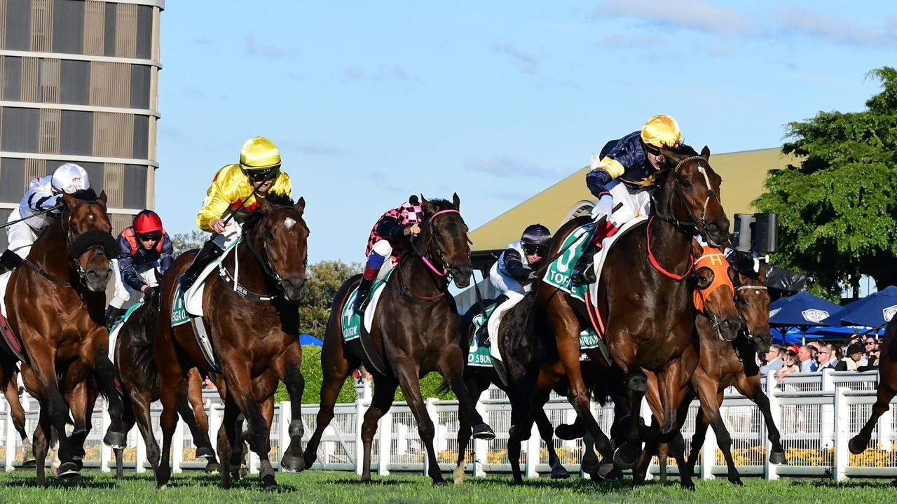 Tofane beats Vega One in the Group 1 Stradbroke Handicap at Eagle Farm. Picture: Grant Peters–Trackside Photography.
