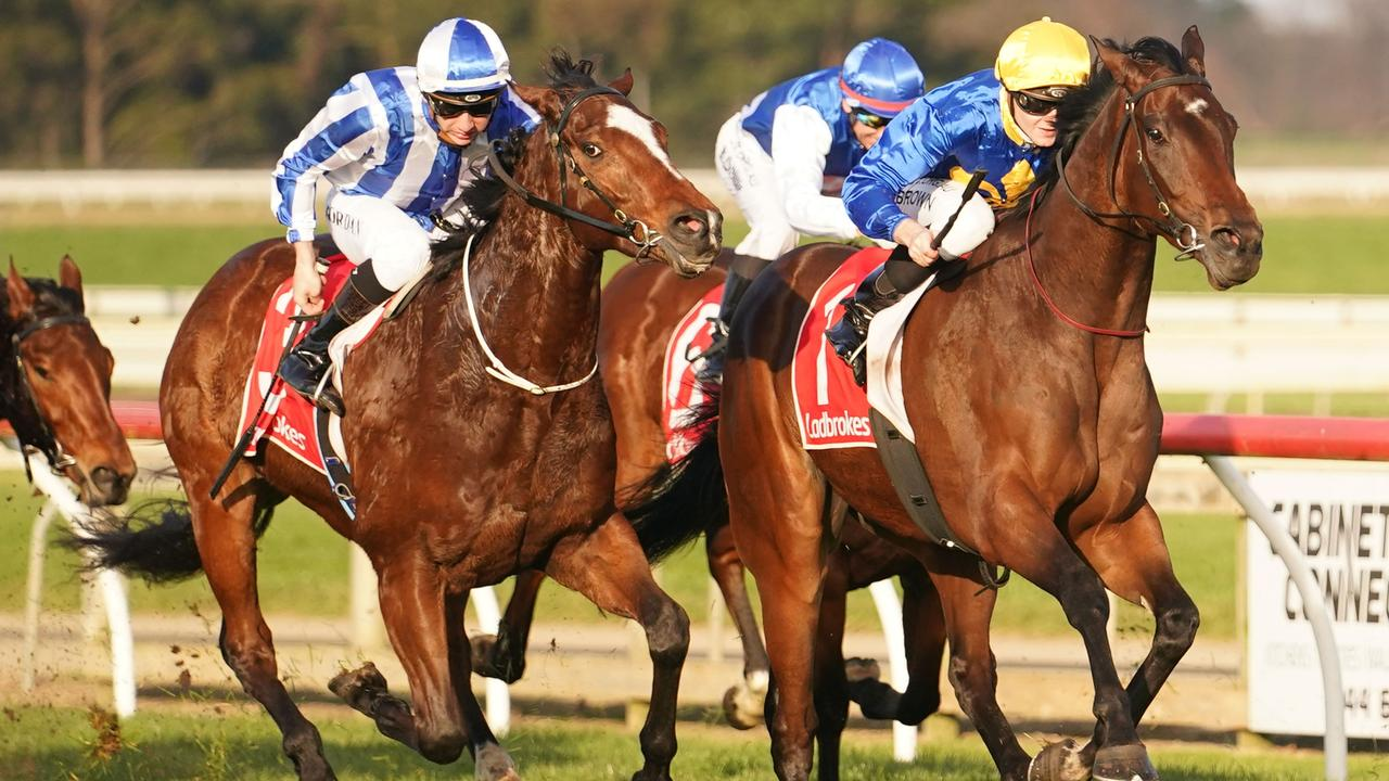 Duke Of Neworleans charges to victory at Sale. Picture: Racing Photos