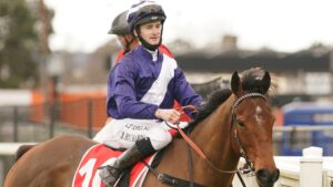 Josh Richards returns a winner for Michael Kent aboard Royelle at Moe. Picture: Racing Photos