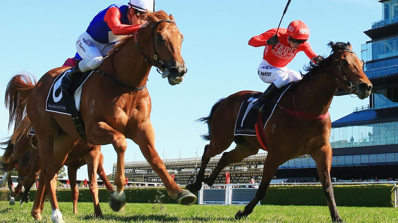 Kerrin McEvoy on Military Zone (R) at Royal Randwick Racecourse. (Photo by Mark Evans/Getty Images)