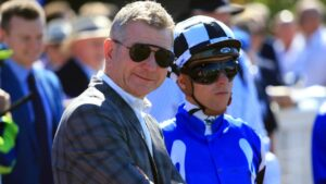 Kris Lees and Kerrin McEvoy in the Australian Bloodstock colours which will be aboard Ventura Ocean on Saturday. Photo: Aaron Francis–The Australian.