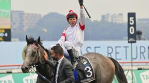 Kerrin McEvoy on Classique Legend returns to scale after winning race the 2020 The Everest. Picture: Getty Images