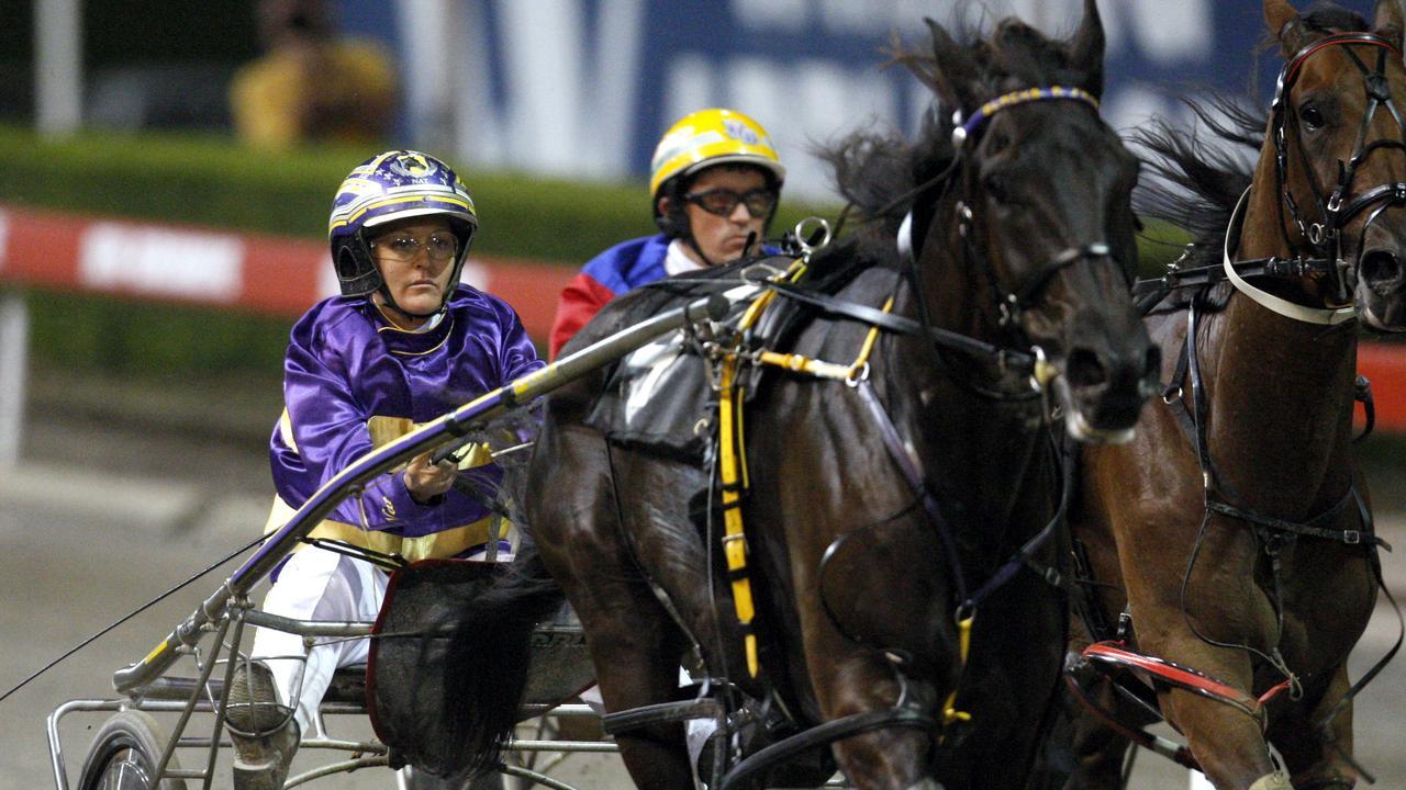 Blacks A Fake driven by Natalie Rasmussen winning an Inter Dominion heat at Harold Park Paceway in Sydney.