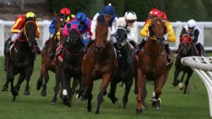 Pearl De Vere (blue cap) winning at The Valley in 2017. Picture: AAP