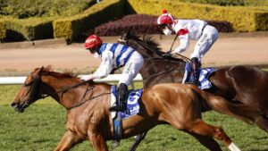 Brock Ryan on Chat storms over the top to win the Hyland Race Colours July Sprint at Rosehill Gardens. Picture: Mark Evans–Getty Images