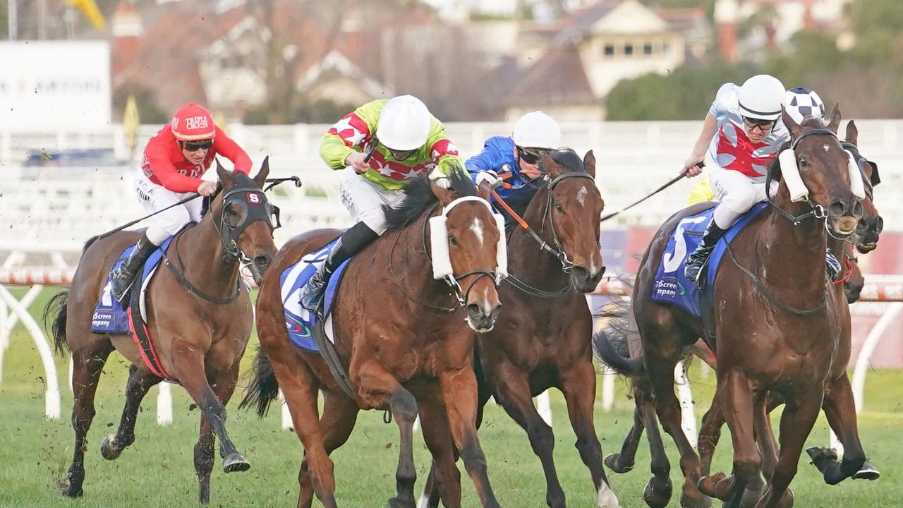 Sansom ridden by Ben Allen wins the The Big Screen Company Bletchingly Stakes at Caulfield. Picture: Scott Barbour–Racing Photos via Getty Images
