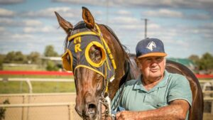 Rebecca's Quest and Wayne Marsden after winning at the Back O'Bourke Picnic Race Club meeting at Nyngan in April. Picture: Janian McMillan–Racing Photography