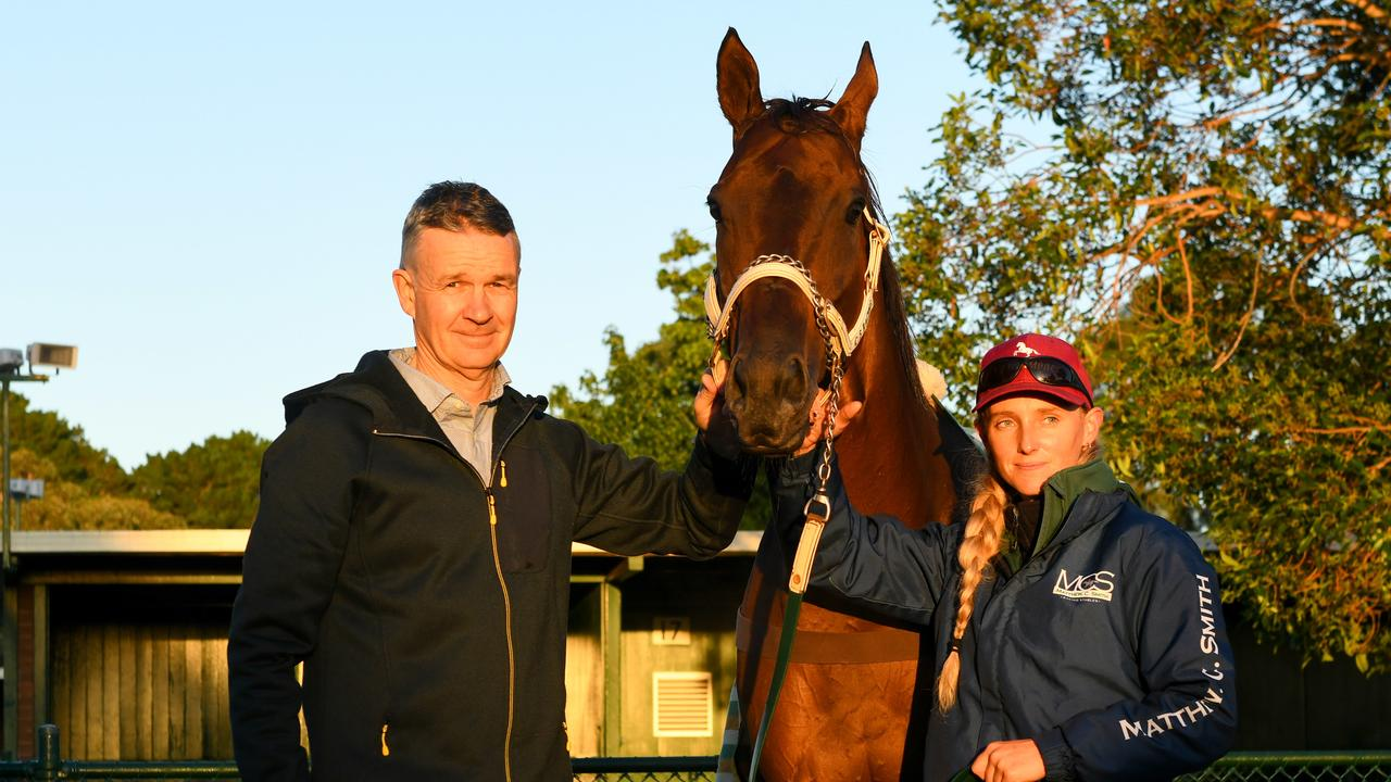 Trainer Matthew Smith with Fierce Impact. Picture: AAP Image–Vince Caligiuri