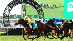 Vega One wins the Group 1 Kingsford-Smith Cup for trainer Tony Gollan and jockey Jamie Kah at Eagle Farm. Picture: Grant Peters–Trackside Photography