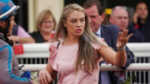 Trainer Gemma Rielly dropped everything to help an emaciated horse in northern Victoria on Sunday. Picture : AAP.