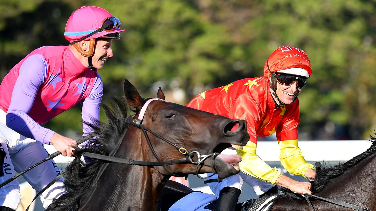 James McDonald and Hugh Bowman were questioned by stewards again. Picture: AAP