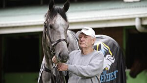 EVEREST WINNER Classique Legend and his trainer Les Bridge at the stables at Randwick on the 18th of October. PICTURE: Adam Yip/ Second Story