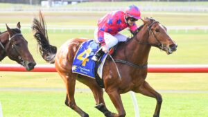 Lloyd's Crown swishing his tail in his last-start win at Sandown in May. Picture: Racing Photos via Getty Images