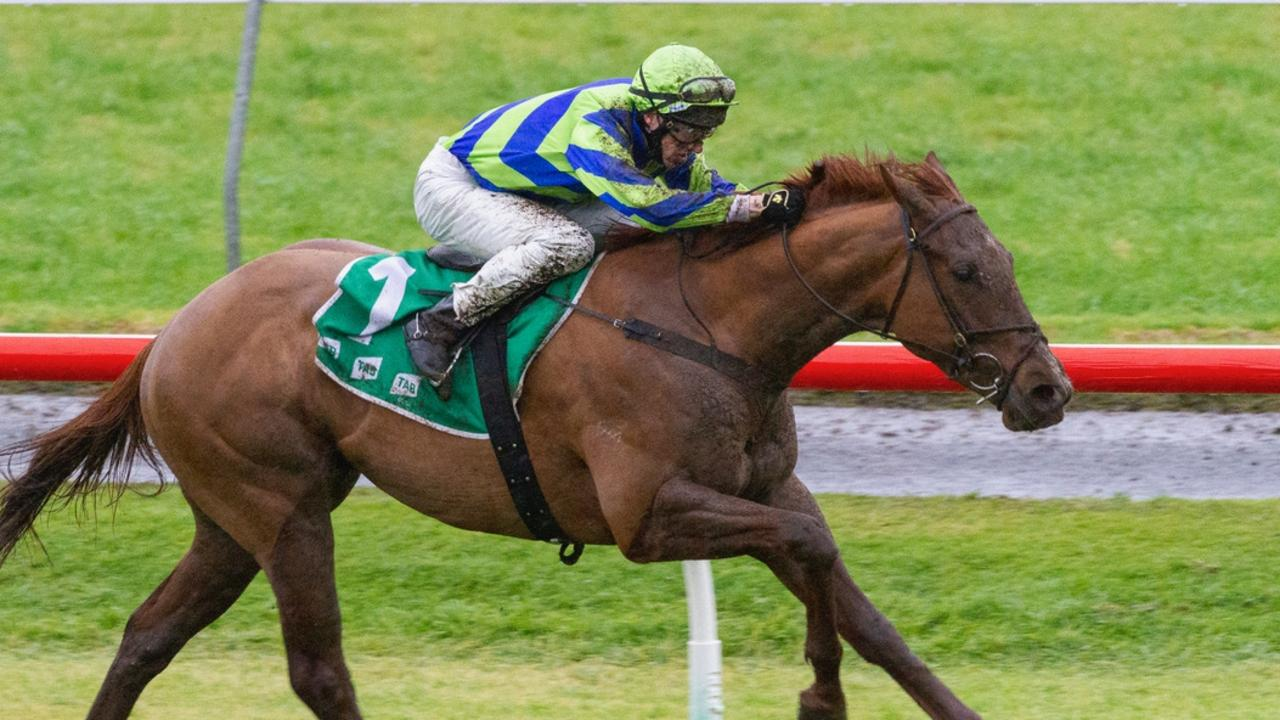 Todd Pannell wins on Beau Rossa at Morphettville, which gave him the SA metro jockeys' premiership. Picture: Atkins Photography