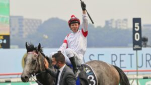 Kerrin McEvoy and Classique Legend returning to scale after winning The Everest. Picture: Getty Images