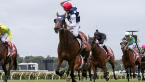 Victoria Derby winner Johnny Get Angry is likely to start his Melbourne Cup campaign in the Aurie's Star Handicap at Flemington. Picture : Racing Photos via Getty Images.