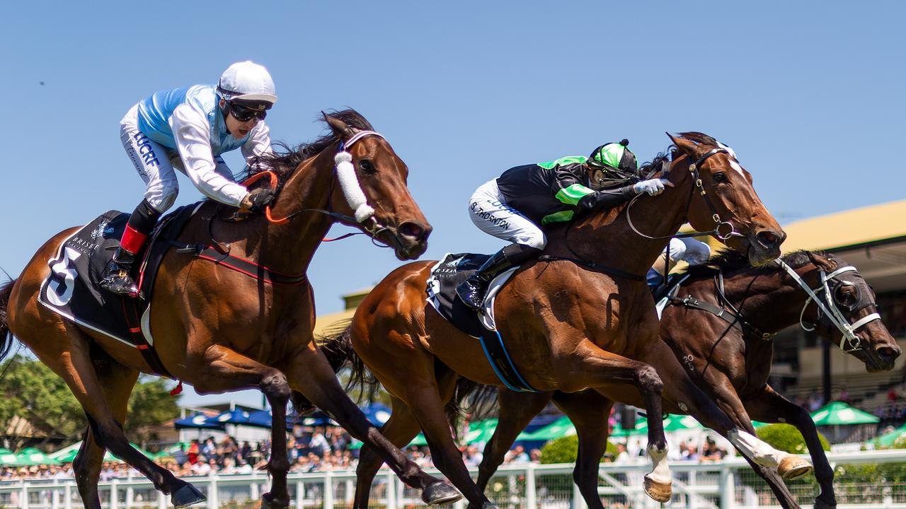 Horses racing at Eagle Farm in Queensland. Picture: AAP Image–Albert Perez.