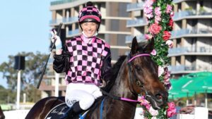 Leah Kilner returns to scale after winning aboard Emerald Kingdom at Eagle Farm. Picture: Trackside Photography