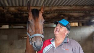 Trainer Brett Bellamy and his Coffs Harbour Cup hopeful Northern Knight.