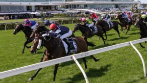 Twilight Payment surges to victory in last year's Melbourne Cup. Picture: AFP